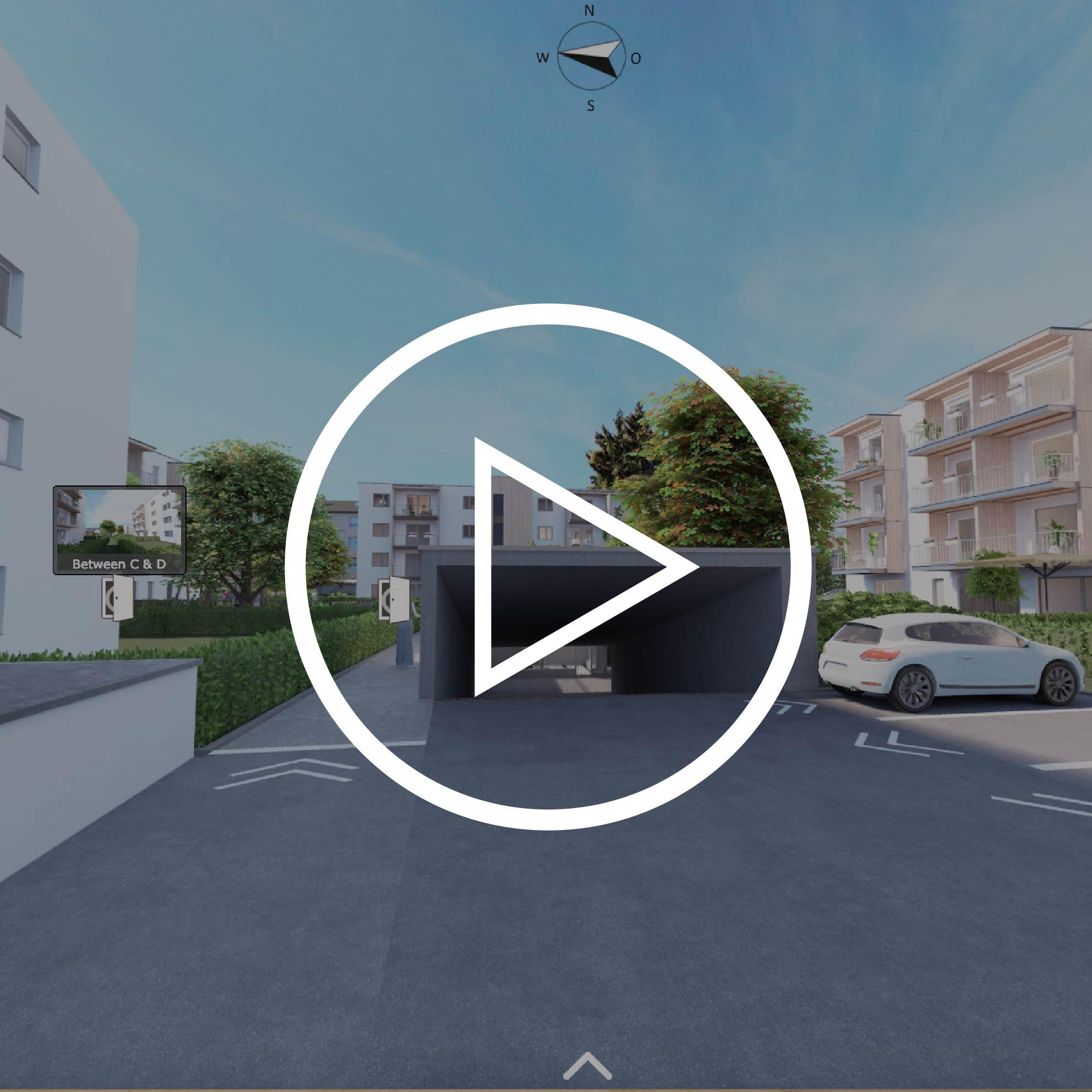 Aussenansicht Projekt Villach mit Playbutton zur Weiterleitung 3D Rundgang