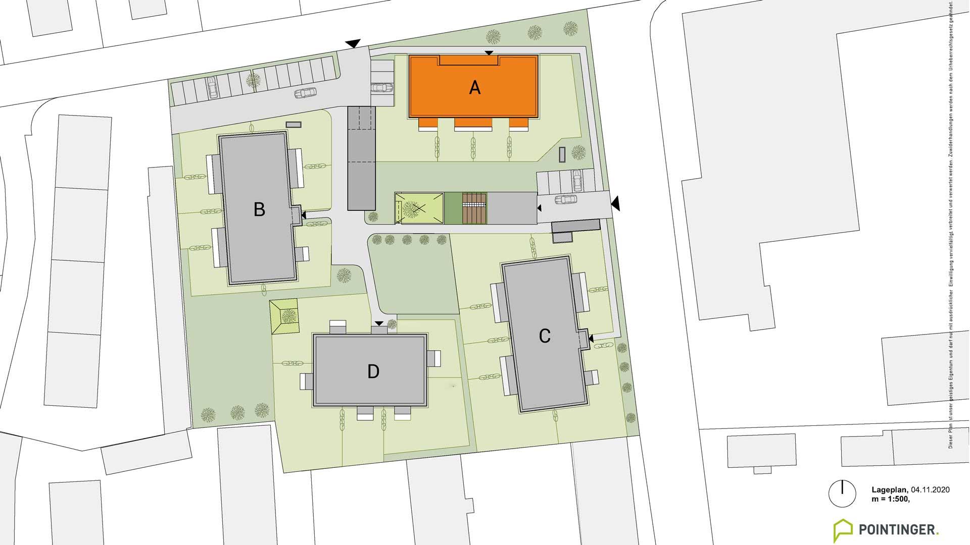 Projekt Villach Lageplan Bauteil A orange markiert
