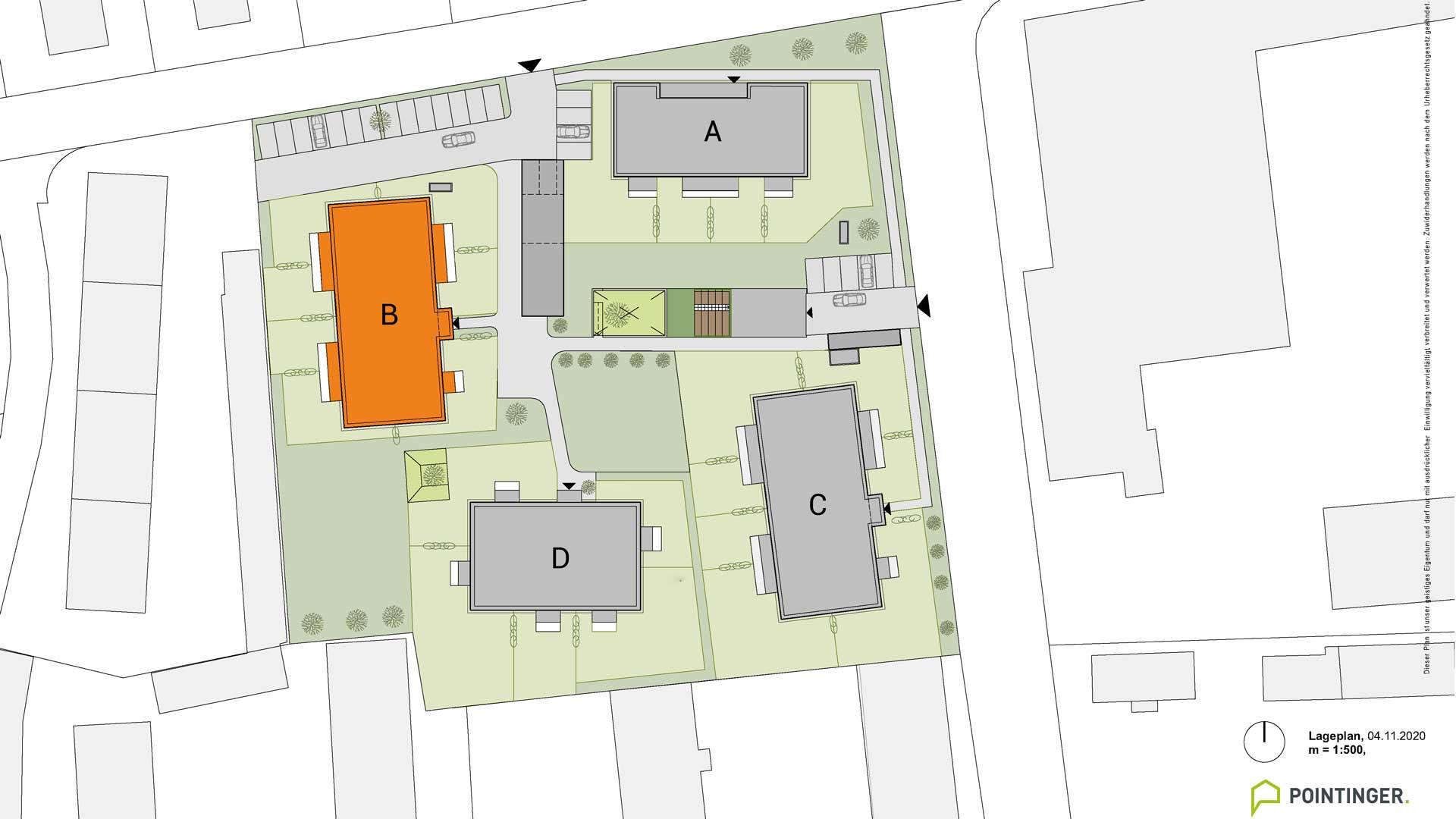 all-in99 Projekt Villach Lageplan Bauteil B orange markiert