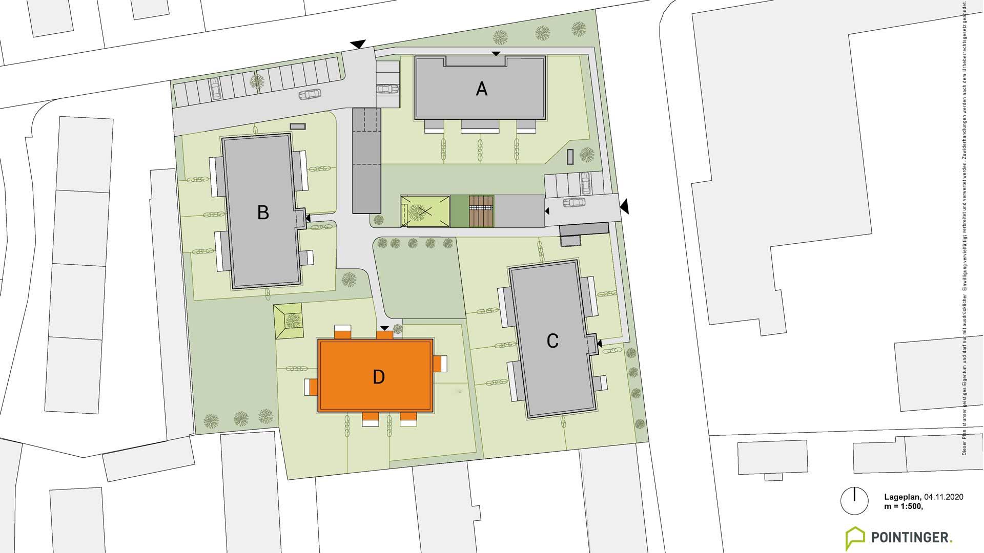 all-in99 Projekt Villach Lageplan Bauteil D orange markiert