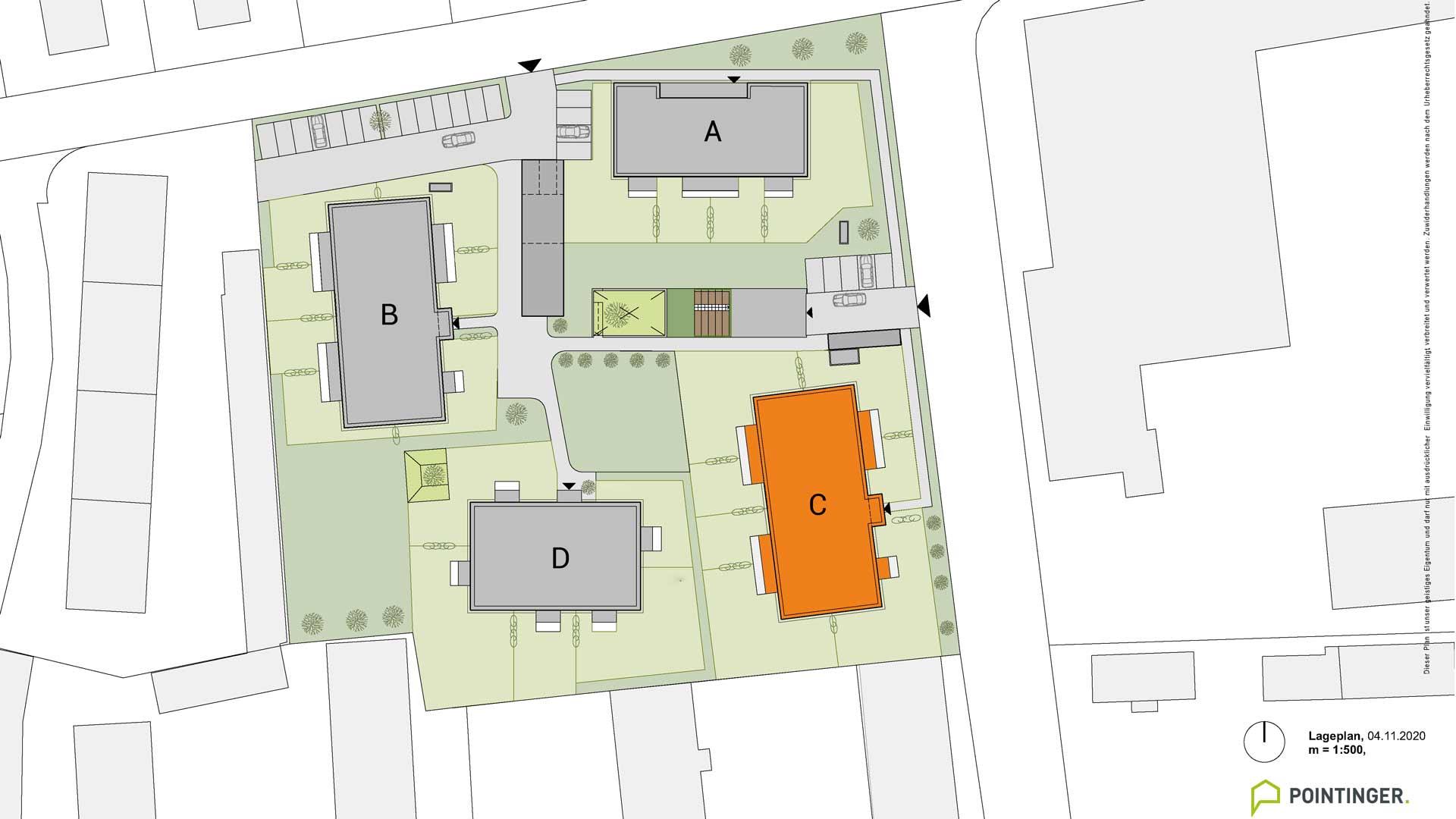 all-in99 Projekt Villach Lageplan Bauteil C orange markiert