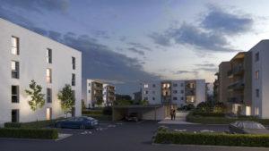 all-in99 Projekt Novus Via Villach 4 Wohngebaeude in Abendansicht