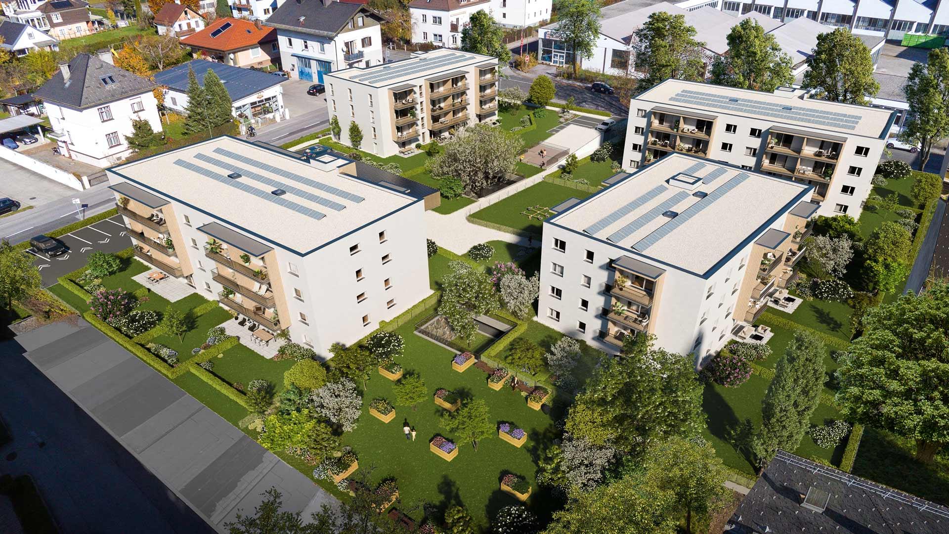 all-in99 Projekt Novus Via Villach 4 Wohngebaeude Vogelperspektive in Tagesansicht