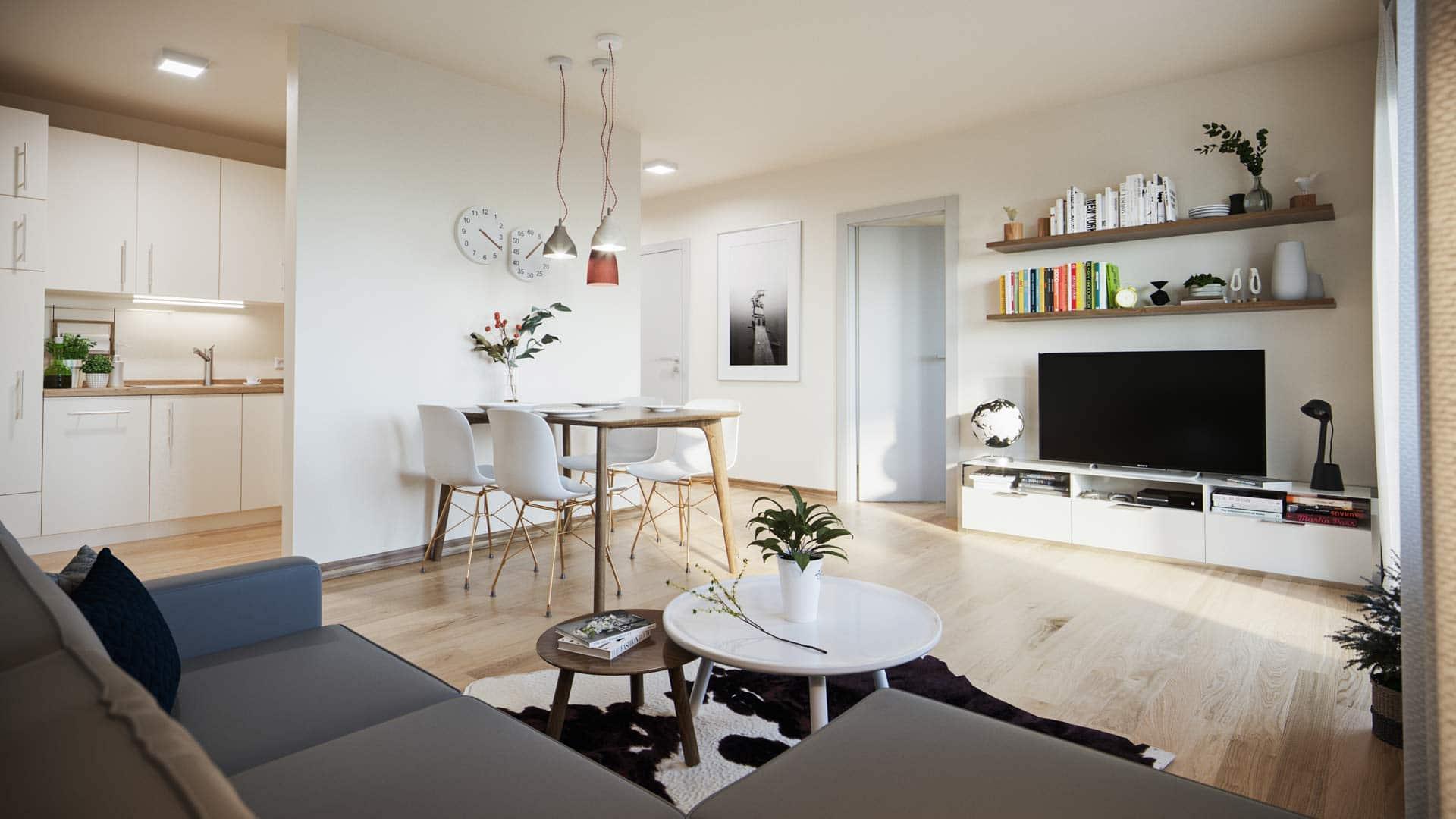 Projekt Villach Beispiel Innenausstattung Wohnzimmer graue Couch