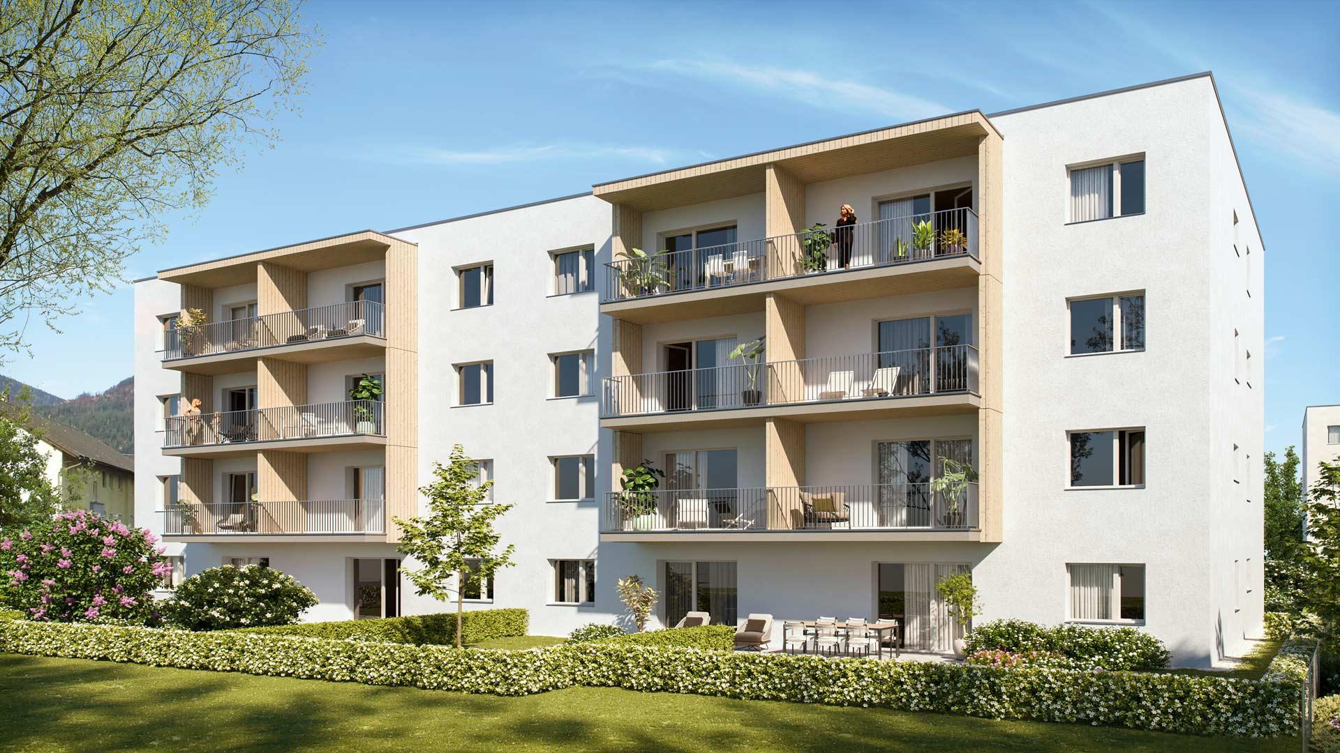 all-in99 Projekt Villach Bauteil B Wohngebaeude in Tagesansicht