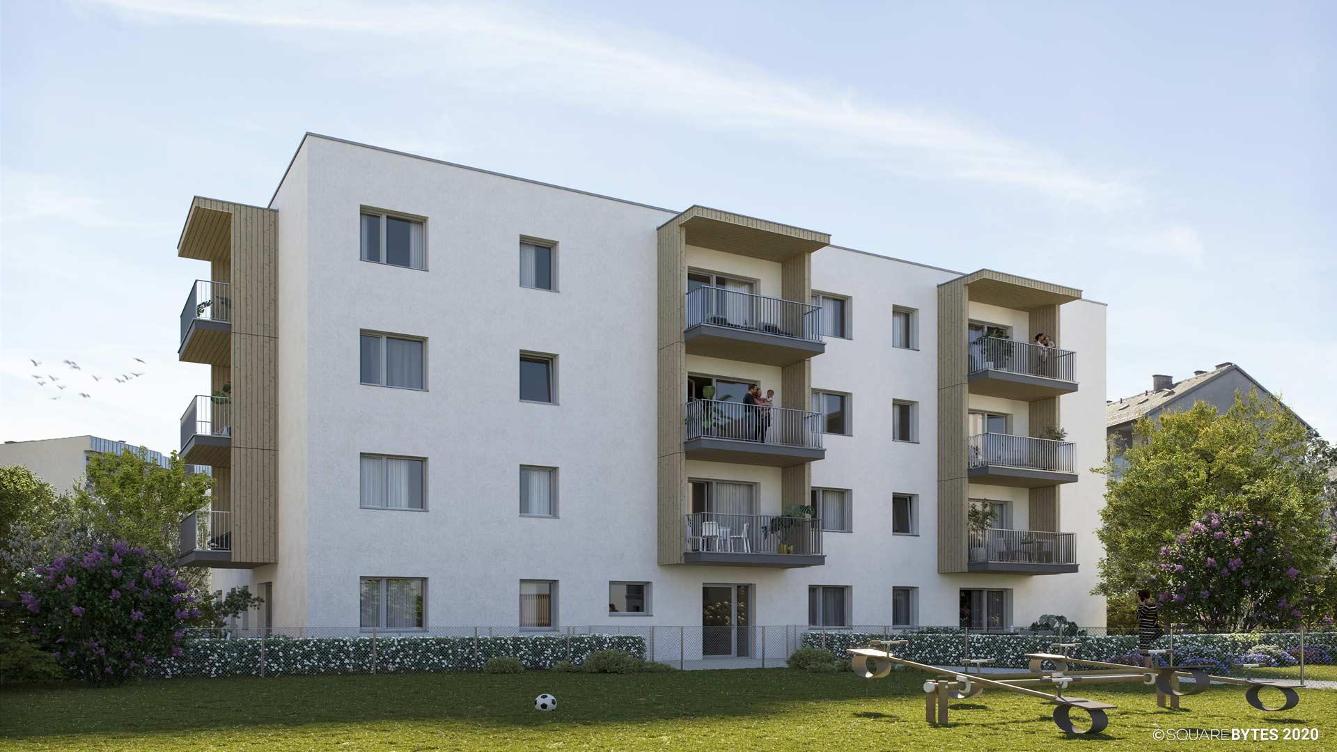 all-in99 Projekt Villach Bauteil D Wohngebaeude in Tagesansicht