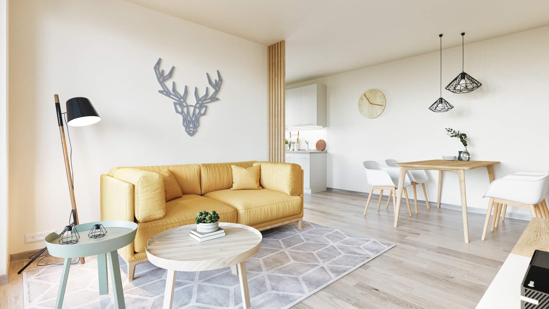 Projekt Villach Beispiel Innenausstattung Wohnzimmer gelbe Couch