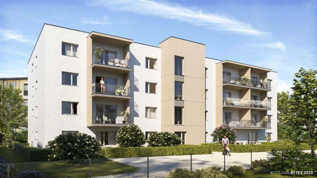 all-in99 Projekt Villach Bauteil C Wohngebaeude in Tagesansicht