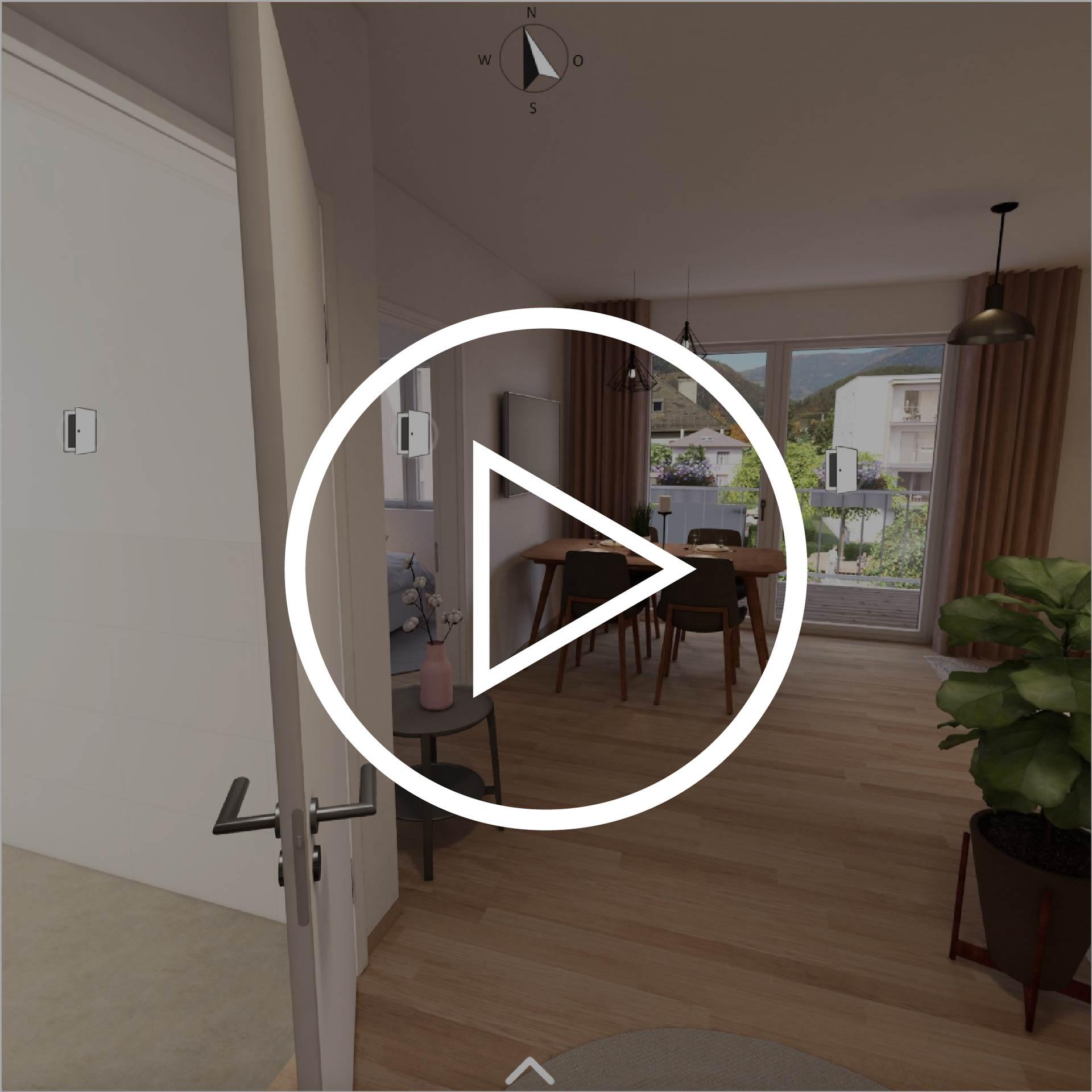 Wohnung Typ 42 Projekt Villach mit Playbutton zur Weiterleitung 3D Rundgang