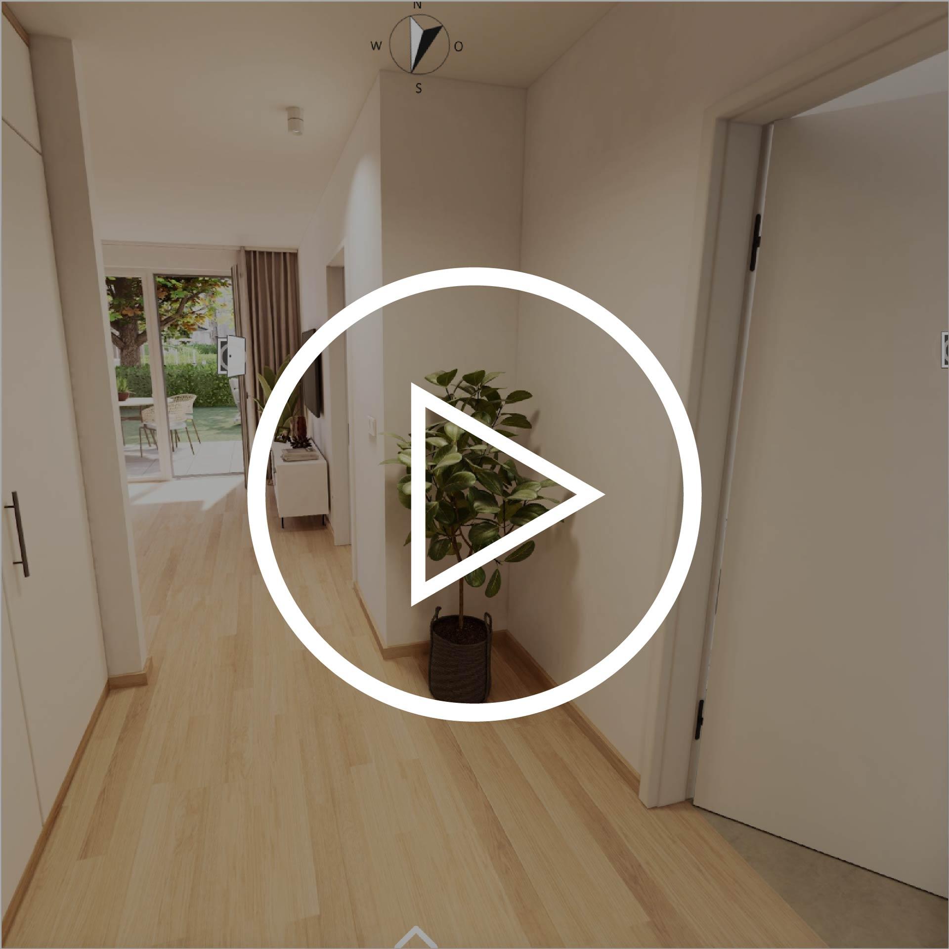 Wohnung Typ 54 Projekt Villach mit Playbutton zur Weiterleitung 3D Rundgang