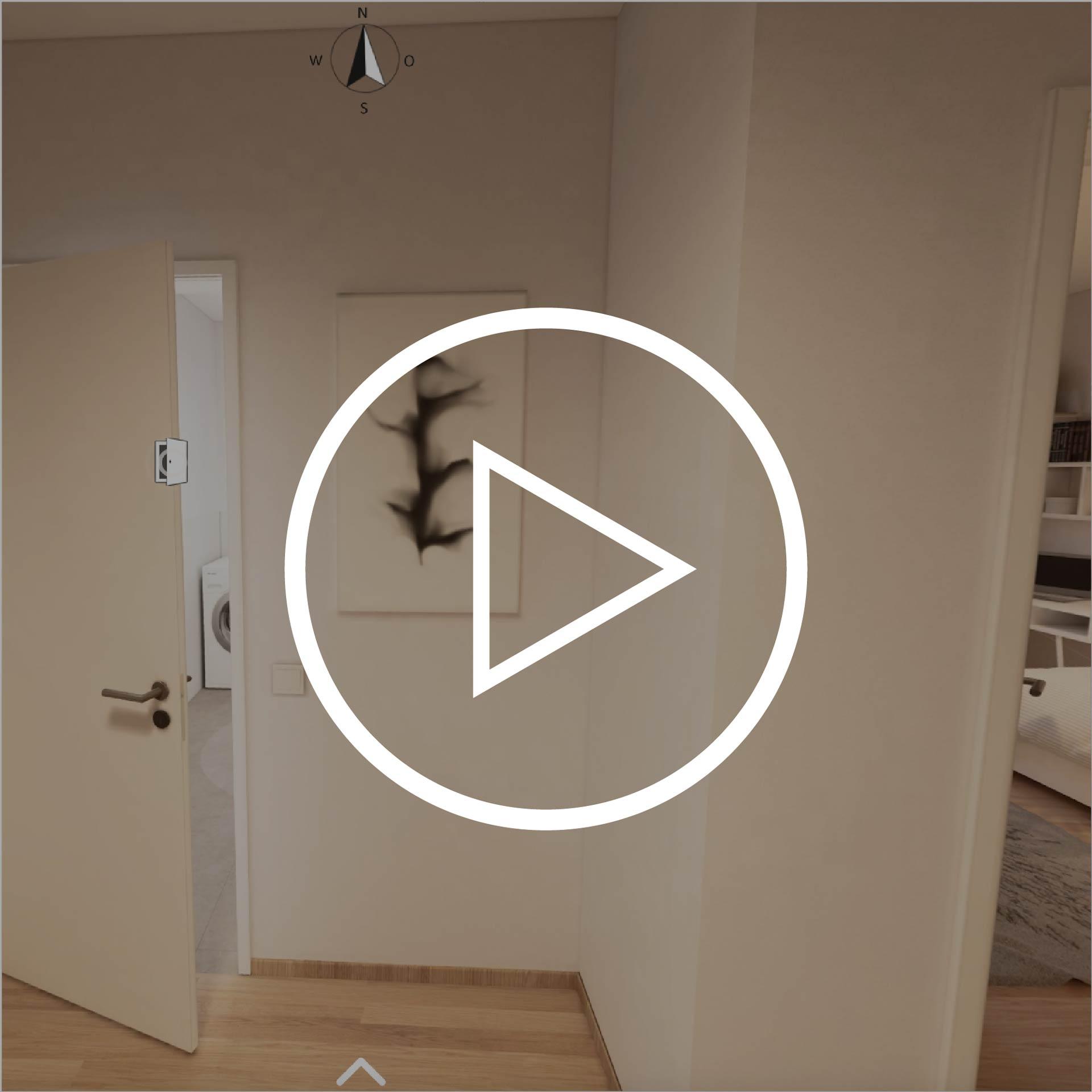 Wohnung Typ 70 Projekt Villach mit Playbutton zur Weiterleitung 3D Rundgang