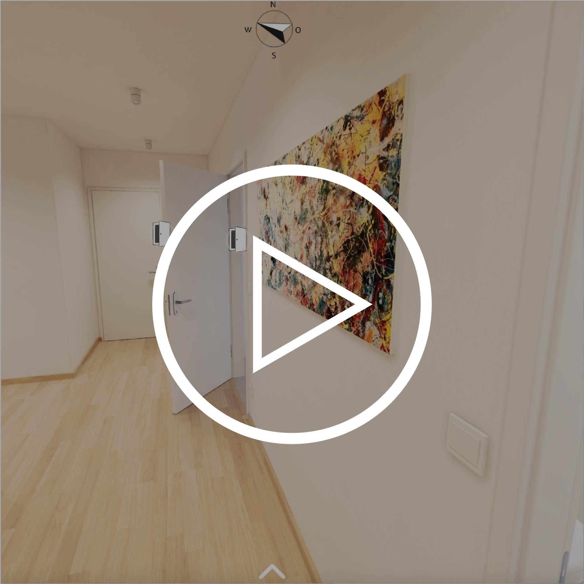 Wohnung Typ 80 Projekt Villach mit Playbutton zur Weiterleitung 3D Rundgang