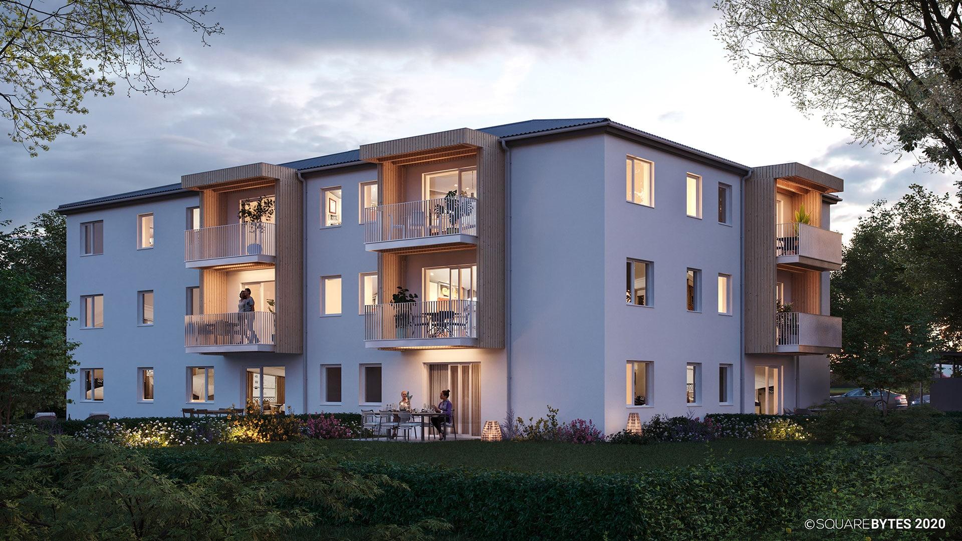all-in99 Projekt Ennsdorf Wohngebäude in Abenstimmung