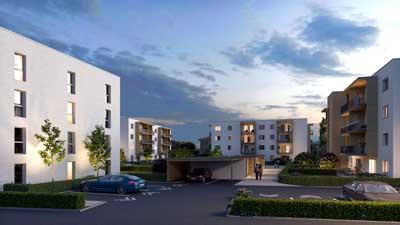 Projekt Novus Via Villach 4 Wohngebaeude in Abendansicht